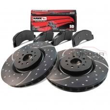 Комплект передних тормозов (диски EBC Brakes + колодки HAWK) для Toyota Tundra 2007-2021